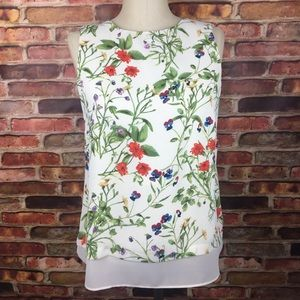 Rose & Olive Spring Floral Tank Back Zipper Small